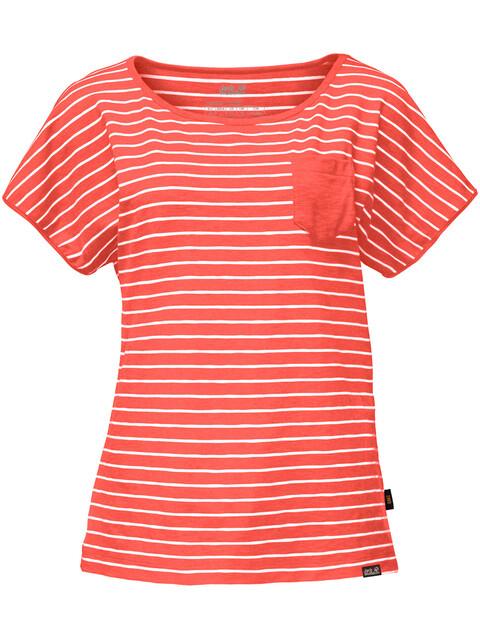 Jack Wolfskin Travel - T-shirt manches courtes Femme - rouge/blanc